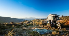 Time Lapse, Folding Up A Rooftop Tent On A Jeep Wrangler, Portugal Stock Footage