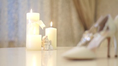 White wedding shoes bride, slidecam Stock Footage