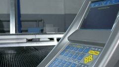 Close-up of the CNC control panel of the machine for metal processing. Many Stock Footage