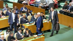 German Foreign minister, Frank Walter Steinmeier at the UN General Assembly Stock Footage