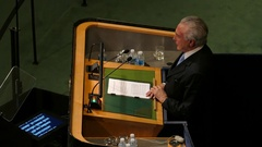 Brazilian President Michel Miguel Elias Temer Lulia at the UN General Assembly Stock Footage