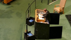UN Secretary General Ban Ki-moon speech at the United Nations General Assembly Stock Footage