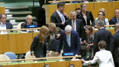 US Secretary of State John Kerry at the United Nations General Assembly Stock Footage
