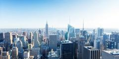 Manhattan with Empire State Building panorama Stock Photos