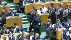 Turkish President Recep Tayyip Erdogan at the United Nations General Assembly. Stock Footage
