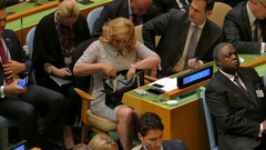 Croatian delegation at the United Nations General Assembly Stock Footage