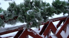 Christmas decoration at the railing Stock Footage