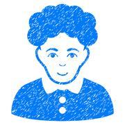 Brunette Woman Grainy Texture Icon Stock Illustration
