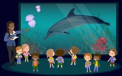 Children on an excursion to the aquarium Stock Illustration