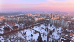 Aerial beautiful evening sky in winter city Stock Footage