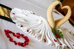 Towel as birds decoration with red rose petals on white clean bed in hotel room Stock Photos