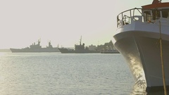 Sunrise on the harbor with boat Stock Footage