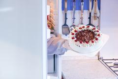 Temptation sweet food from the fridge. Stock Photos