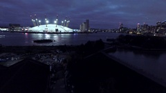 London Aerial O2 Arena at Dusk Stock Footage