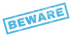 Beware Text Rubber Seal Stamp Watermark Stock Illustration