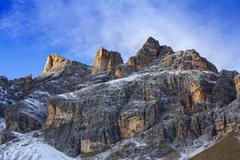 Panoramic view of Dolomites mountains around famous ski resort Cortina d Am.. Stock Photos