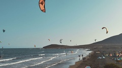 Kite Surfing in Atlantic Ocean, Extreme summer sport. Canary Islands Stock Footage