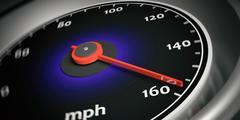 Speedometer black silver red mph Stock Illustration