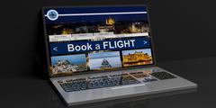 Laptop black silver Book a Flight screen black back Stock Illustration