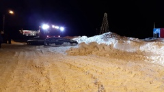 Night view of the snowplow at the ski resort Stock Footage