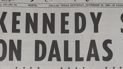 John F Kennedy assassination, Dallas Morning News, 23 Nov 1963. Stock Footage