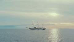 Large sailing ship on the atlantic ocean in a sunset. Canary islands. Spain Stock Footage