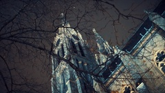Impressive facade of the Gothic cathedral of St. Ludmila in Prague, night Stock Footage