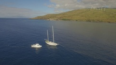 Sailboat Rescue Tow Fly Around Wideshot Stock Footage