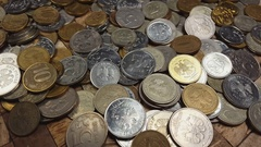 Russian money rotate on the table. Stock Footage