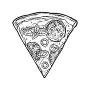 Slice pizza pepperoni. Vintage vector engraving illustration for poster, me.. Stock Illustration
