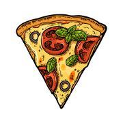 Slice pizza margherita. Vintage vector engraving illustration for poster, m.. Stock Illustration