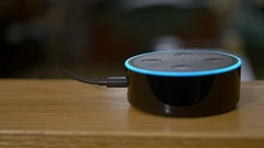 Turning On Light with Amazon Echo Voice Control Stock Footage