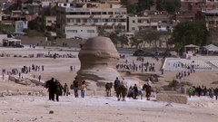 The Great Sphinx of Giza from the back in medium shot Stock Footage