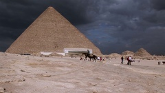 The Great Pyramid of Keops with Horses Stock Footage
