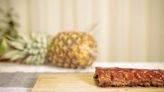 BBQ Ribs on Cutting Board Stock Footage