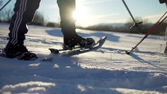Group of hikers snowshoeing in a beautiful snowy day in winter. Stock Footage