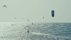 Kite Surfing in Atlantic Ocean, Extreme summer sport. Canary Islands, Spain Stock Footage
