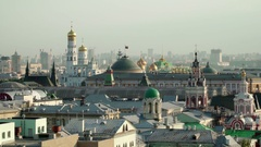 Concept of Russian power Moscow Kremlin panorama aerial view Stock Footage