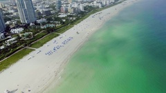 Aerial Flying Towards Sobe South Beach Miami Florida USA Stock Footage