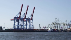 Hamburg Harbor Container Terminal Stock Footage