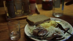 Vodka and herring Stock Footage