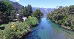 Aerial drone scene.Old wooden broken bridge over cristal clear river Stock Footage