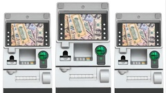 ATM (Automatic Teller Machine) and Dollar Money Increase On Screen Display Stock Footage