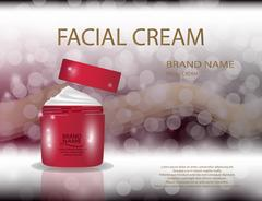 Glamorous facial cream jar on the  sparkling effects background. Stock Illustration