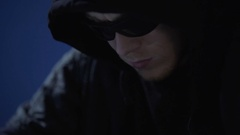 Hacker using tablet pc to hack bank account and steal money, financial crime Stock Footage