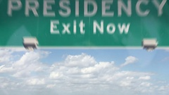Highway Sign about the end of Obama's presidency Stock Footage