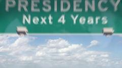 Trump Presidency Next 4 Years Highway Sign Stock Footage