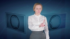 Business woman makes a financial analysis on touch screens. euro Yuan Stock Footage