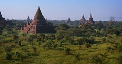 Ancient Stupas of Bagan Archaeological Area in Myanmar Stock Footage