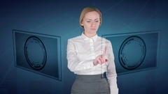 Business woman makes a financial analysis on touch screens. euro, Indian Rupee Stock Footage